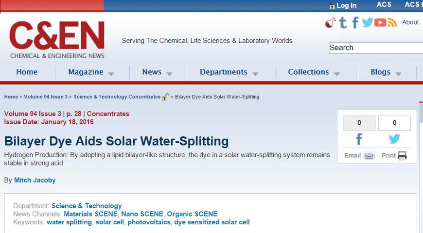 """Bilayer Dye Aids Solar Water-Splitting"": C&EN features Kevin's JACS paper"